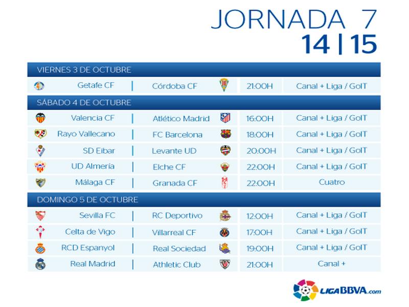 calendrier liga bbva 2014