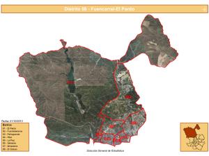Vista del Distrito Fuencarral-El Pardo de Madrid con sus 8 barrios   Fuente: Dirección General de Estadística del Ayuntamiento de Madrid