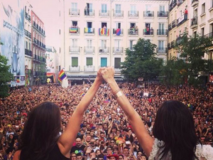 Plaza de Chueca, epicentro de Madrid Orgullo, durante MADO 2014